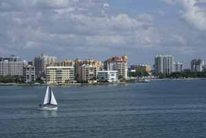 Sailboat on Sarasota Bay from Ringling bridge